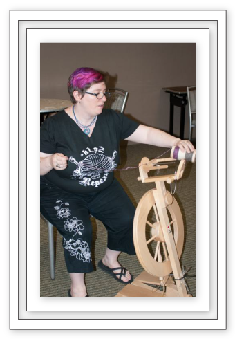 Spinning wheel in use